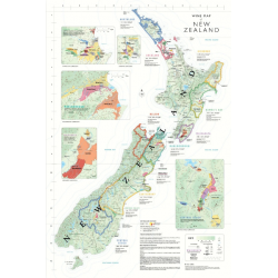 POSTER WINE MAP NEW ZEALAND (anglais)
